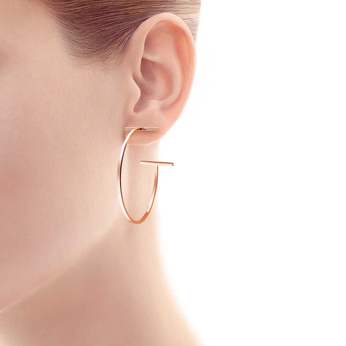 2006063342ebb Tiffany & Co. Tiffany T Wire Hoop Earrings In 18k Rose Gold, Large ...