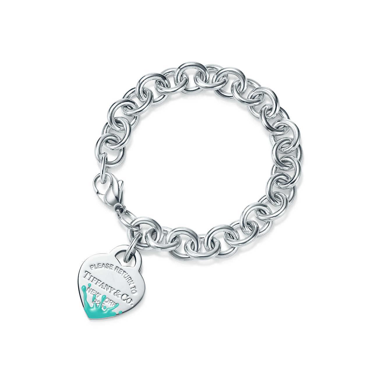 Tiffany Co Women S Metallic Return To Tiffanytm Colour Splash Heart Tag Bracelet