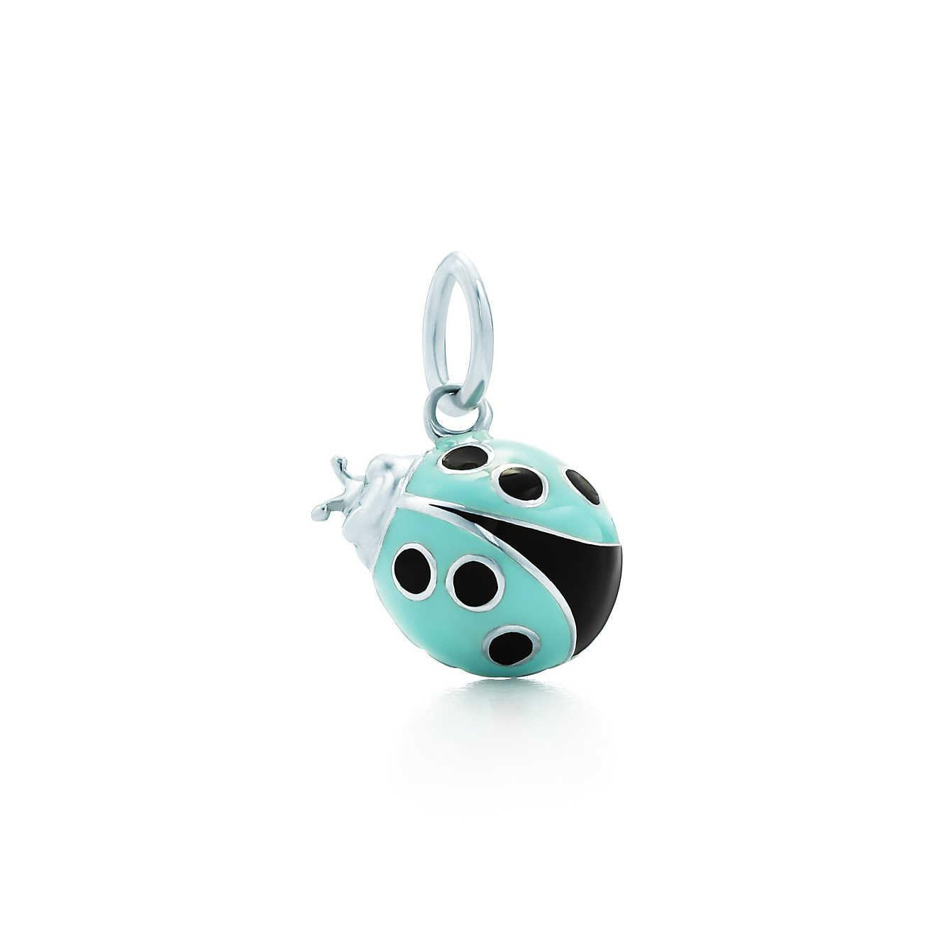 078886dc8190 Tiffany   Co. Women s Metallic Ladybug Charm In Sterling Silver With Blue  And Black Enamel Finish ...