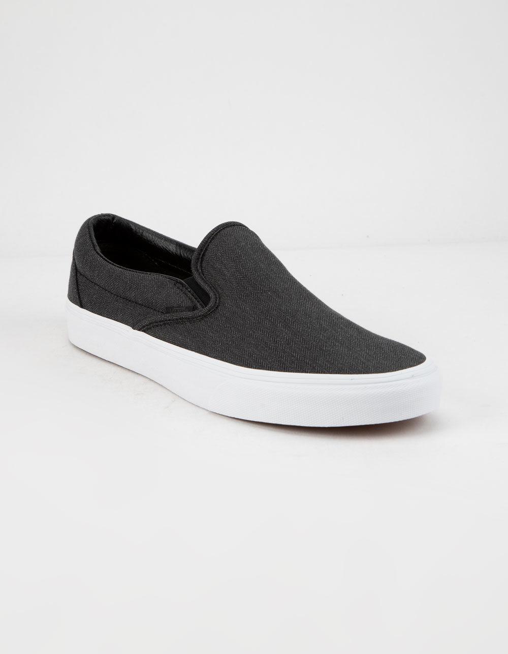 7b173488afbba4 Lyst - Vans Herringbone Classic Slip-on Mens Shoes in Black for Men - Save  8%