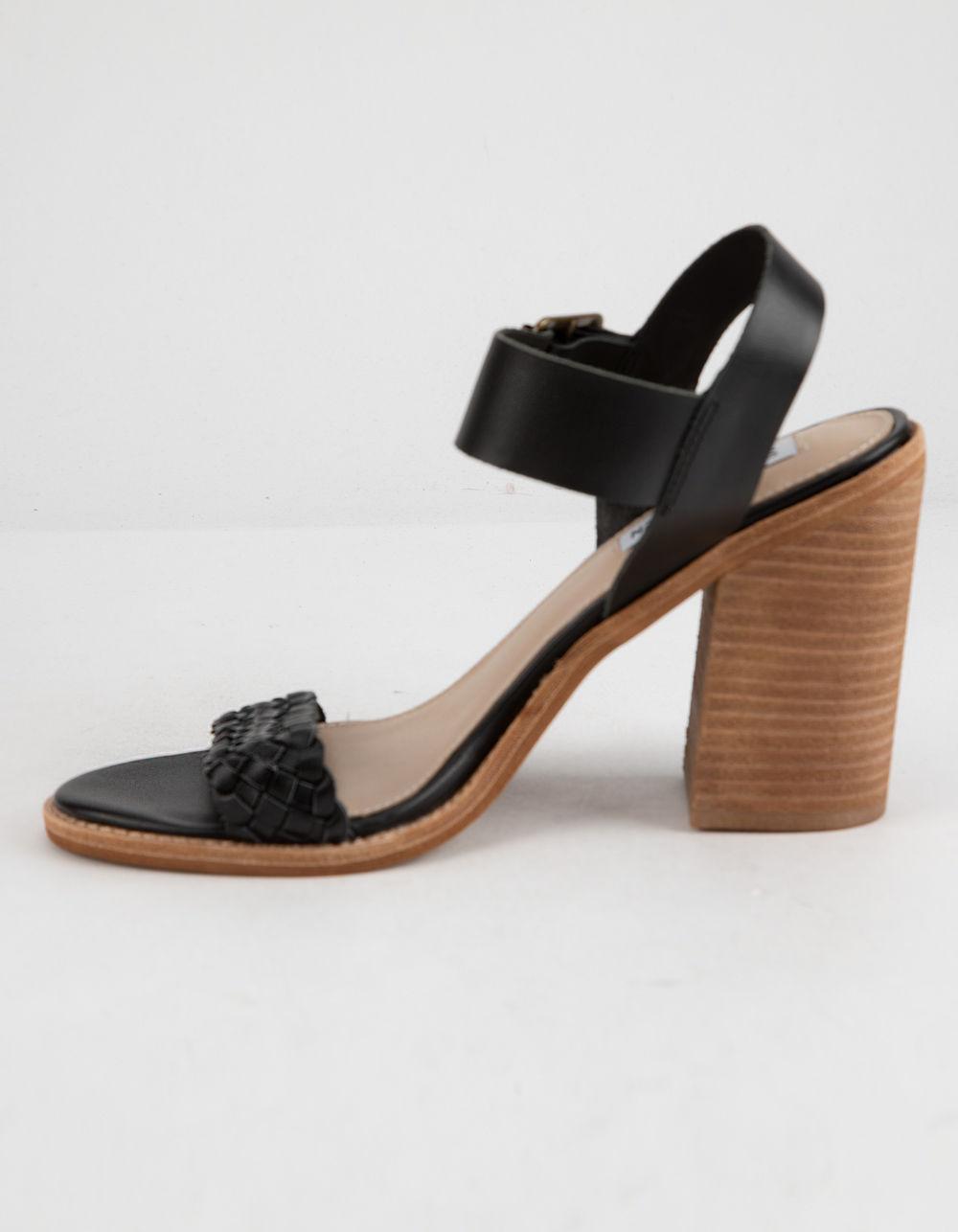 5234ee22105 Steve Madden - Cadence Black Leather Womens Heeled Sandals - Lyst. View  fullscreen