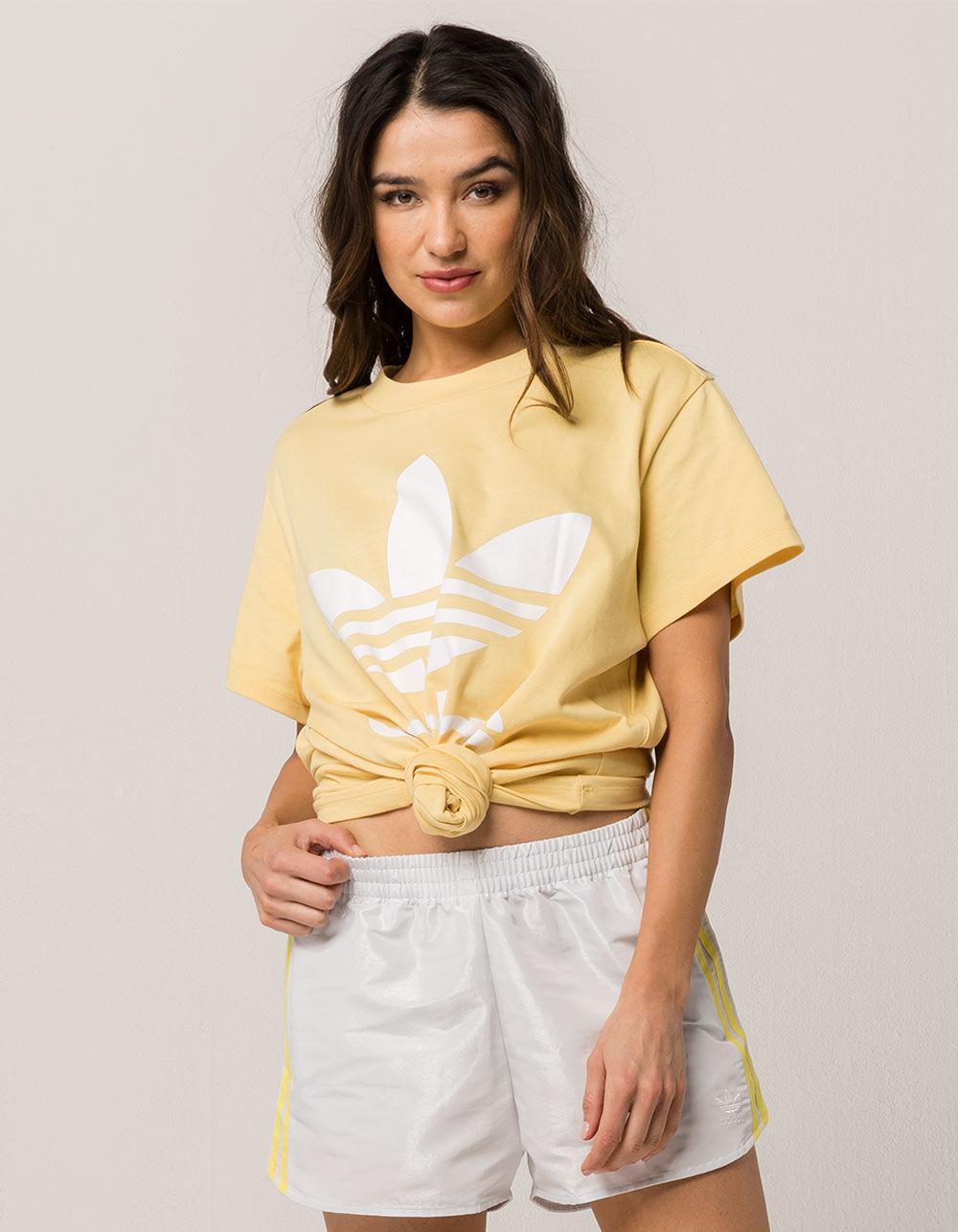 e908b873e24 adidas Big Trefoil Womens Tee in Yellow - Lyst