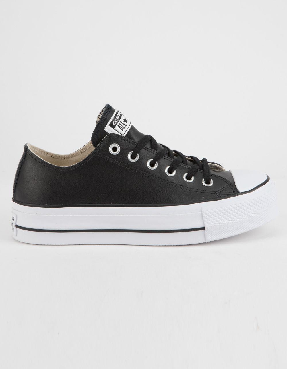 Converse. Black Chuck Taylor All Star Lift Faux Leather Womens Low Top Shoes 06febece4
