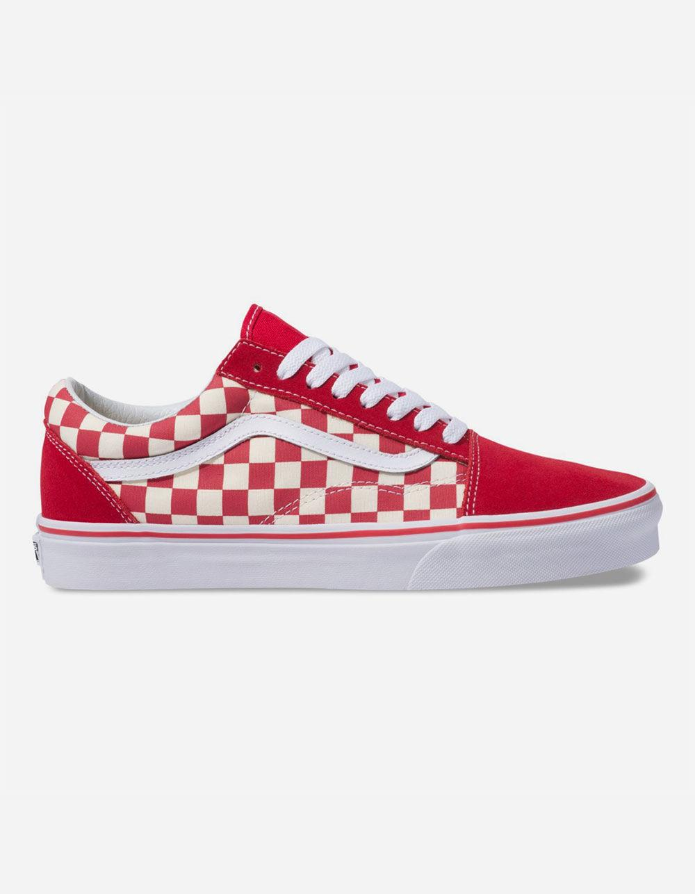 811b5a2a424 Lyst - Vans Primary Check Old Skool Racing Red   White Shoes in Red ...