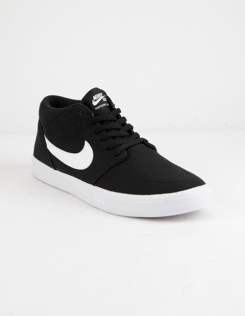 ddb83a51b934bc Lyst - Nike Portmore Ii Solarsoft Mid Canvas Black   White Shoes in Black  for Men