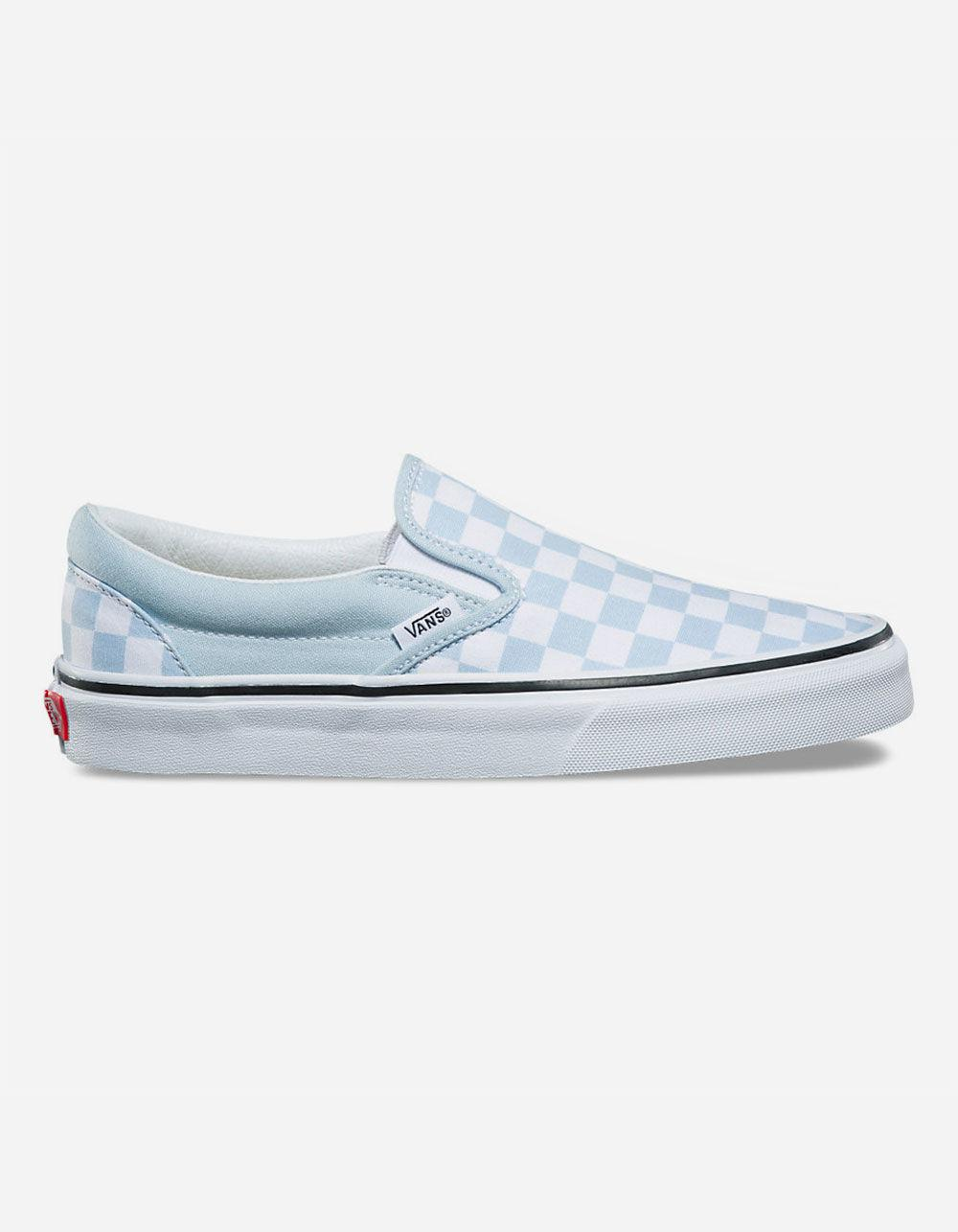 a2949e0479 Lyst - Vans Checkerboard Baby Blue Womens Slip-on Shoes in Blue