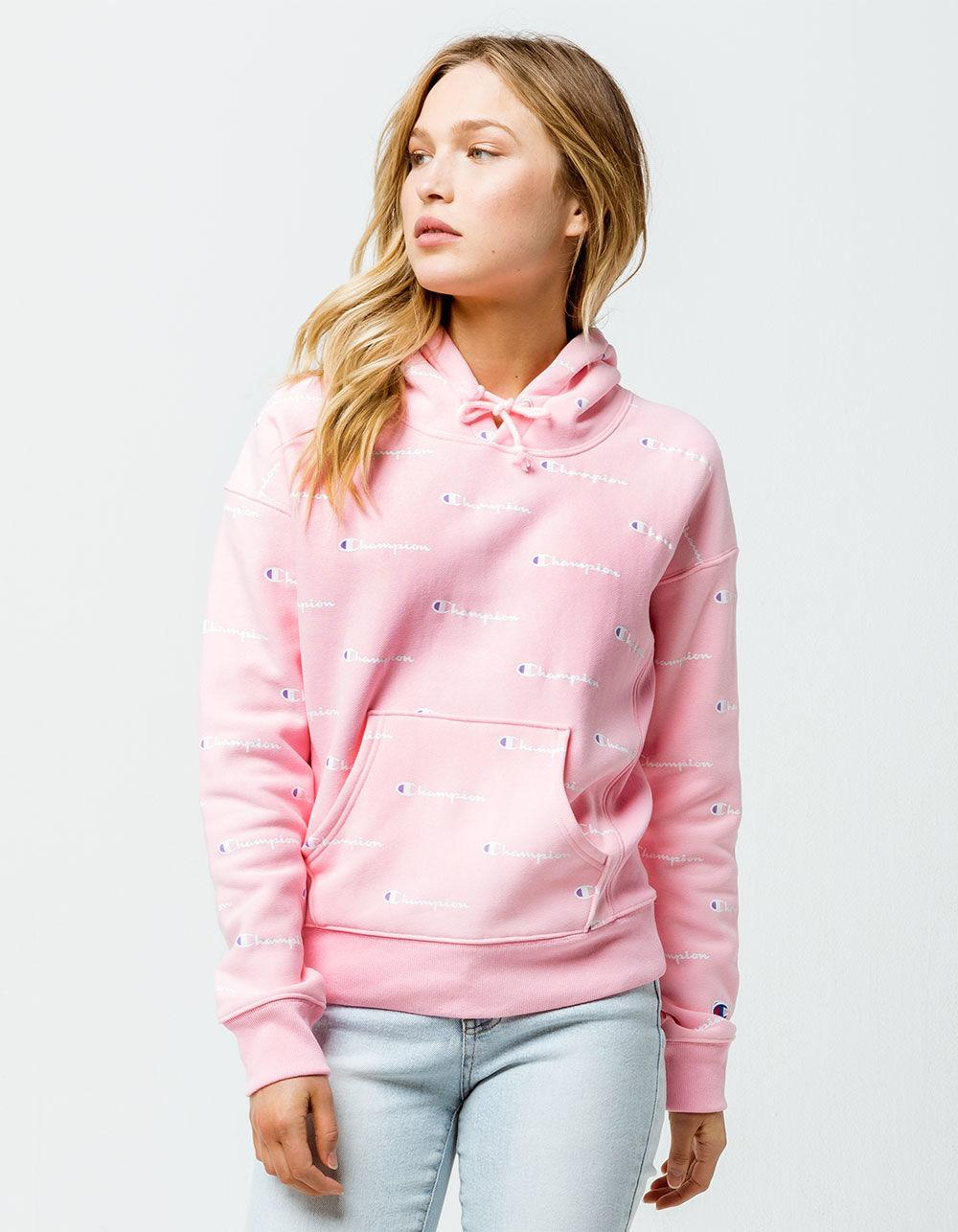 2c4470eeafbe Lyst - Champion Reverse Weave Allover Logo Womens Hoodie in Pink