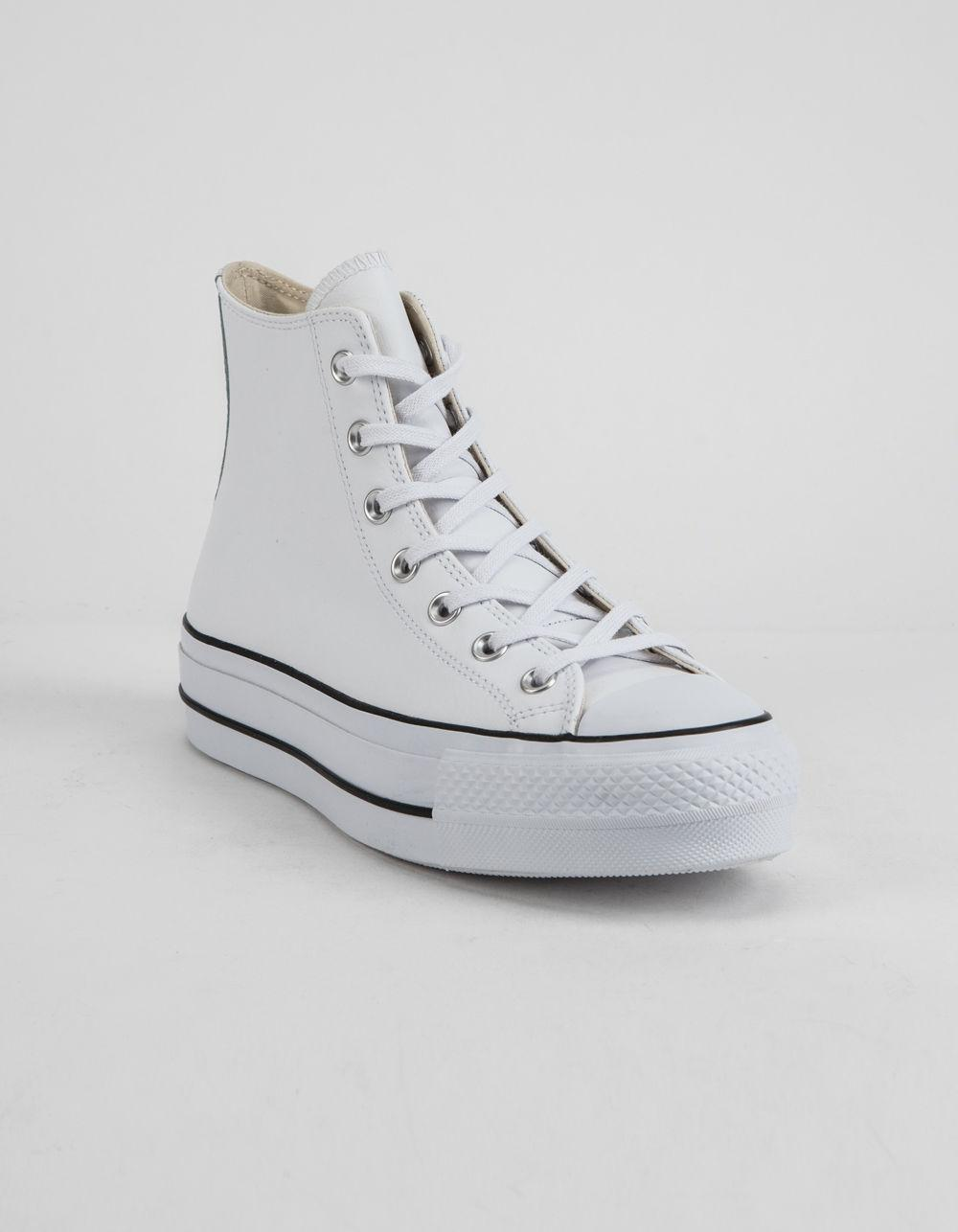 Lyst - Converse Chuck Taylor All Star Lift Faux Leather White Womens ... b202bfbc8