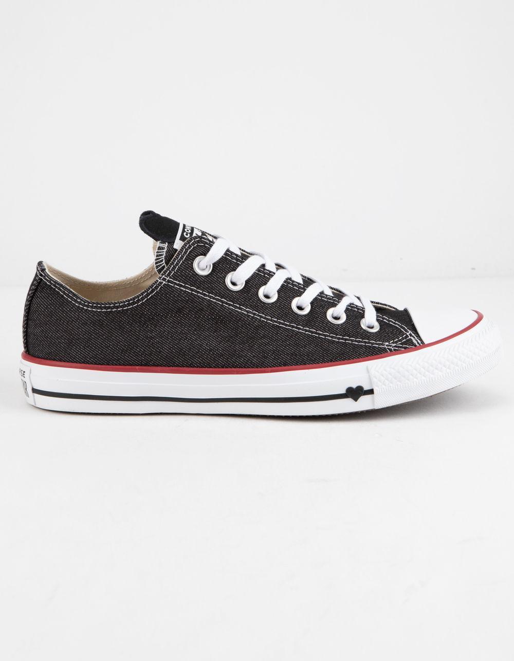 Converse. Black Chuck Taylor All Star Denim Love Low Top Womens Shoes 353efe46c