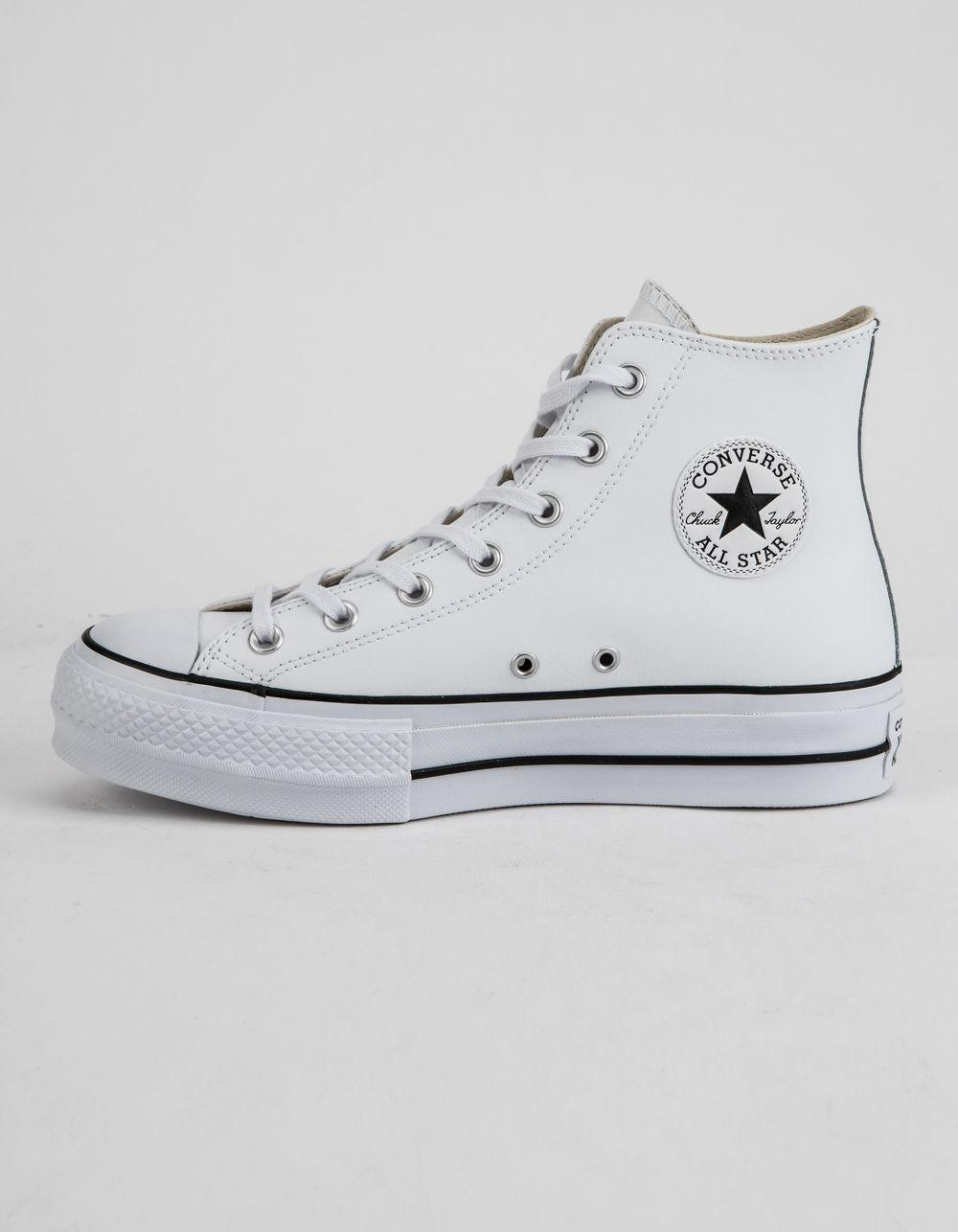 2dc26afa1 Converse Chuck Taylor All Star Lift Faux Leather White Womens High ...