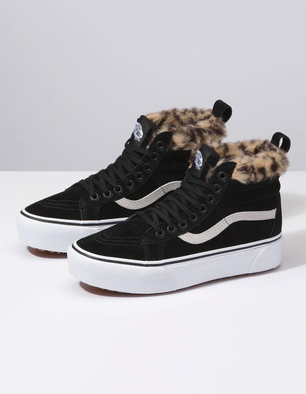 b60e9adf5d7 Lyst - Vans Sk8-hi Platform Mte Black   Leopard Fur Womens Shoes in Black -  Save 19%