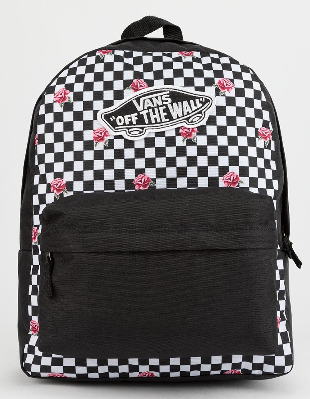b9e0f20bd2 Vans - Black Realm Rose Checkerboard Backpack - Lyst. View fullscreen