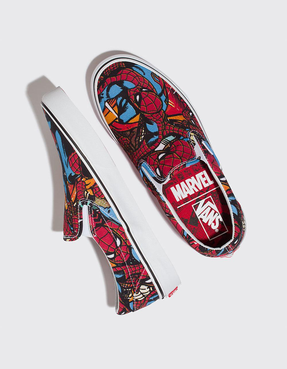 63b543aa632731 Lyst - Vans X Marvel Spider-man Classic Slip-on Shoes in Red for Men