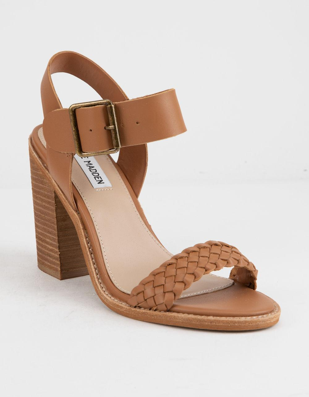 23225c3089d Lyst - Steve Madden Cadence Cognac Leather Womens Heeled Sandals in ...