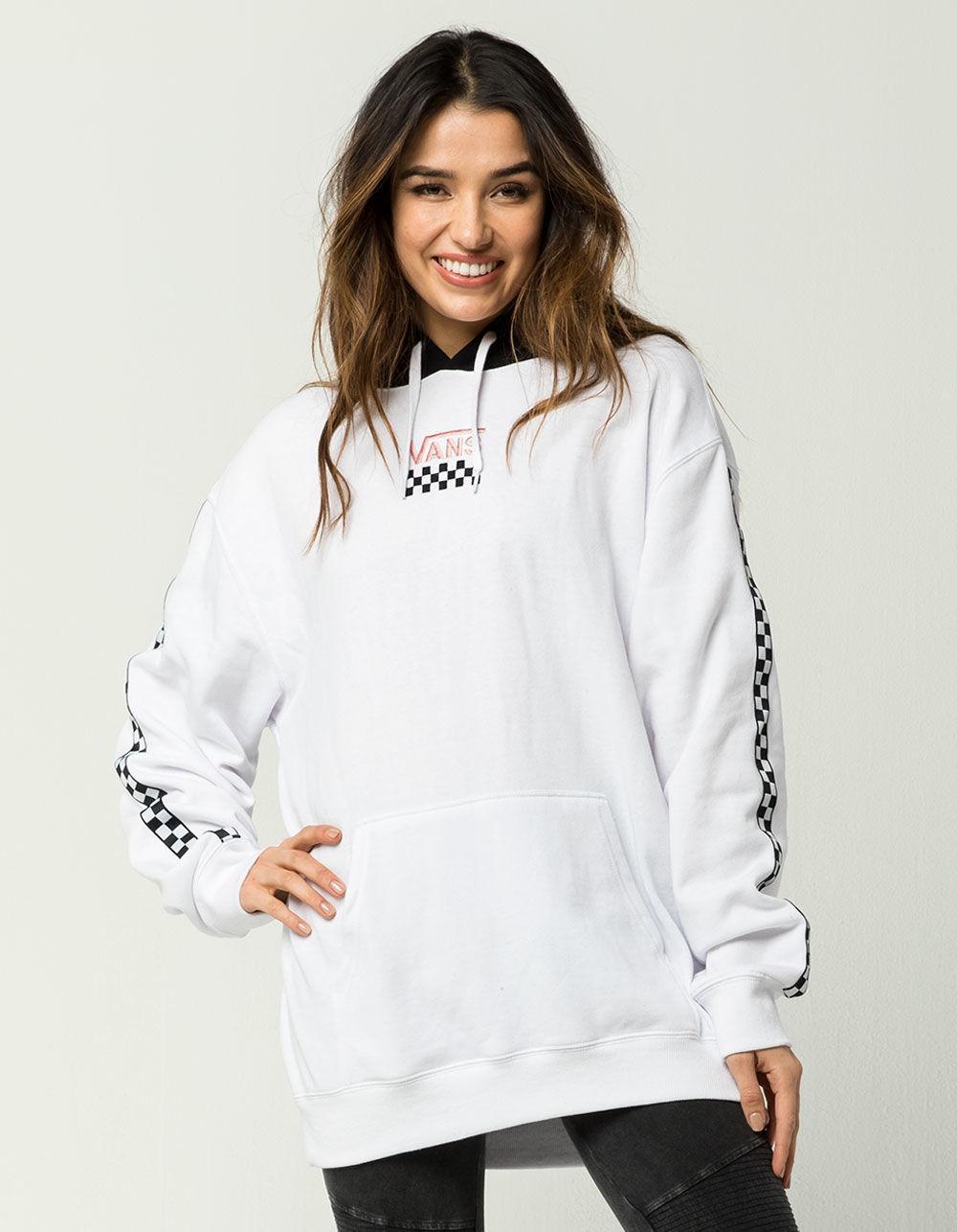 Lyst - Vans Checker Womens Hoodie in White 6e71eaf22b