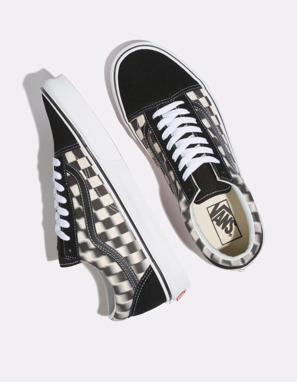 c787a080d9f Vans - Blur Check Old Skool Black   Classic White Shoes - Lyst. View  fullscreen