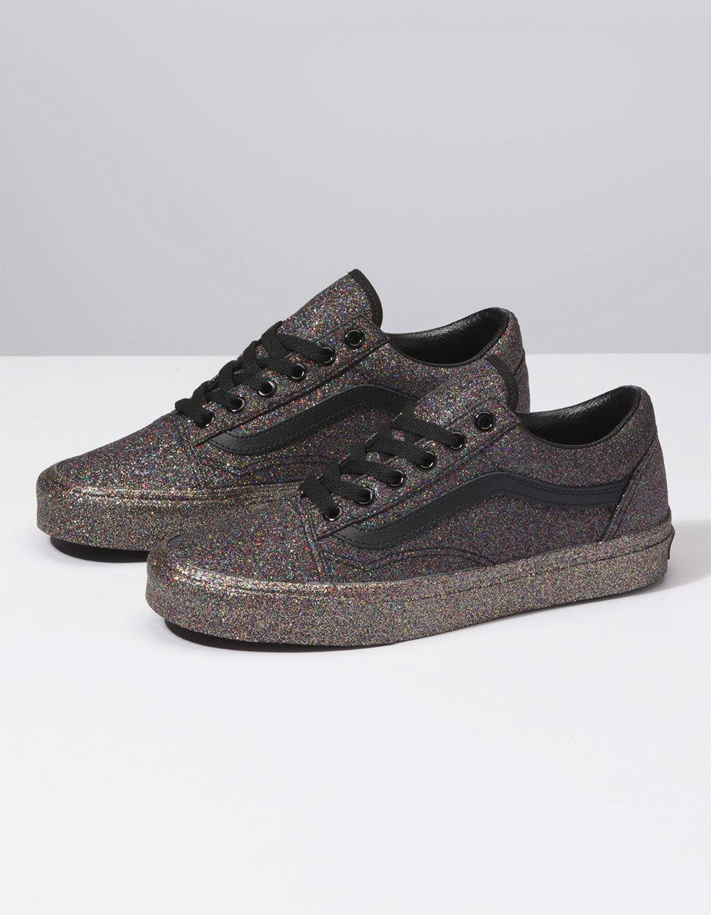 35df7ed186 Lyst - Vans Rainbow Glitter Old Skool Womens Shoes in Black - Save 46%