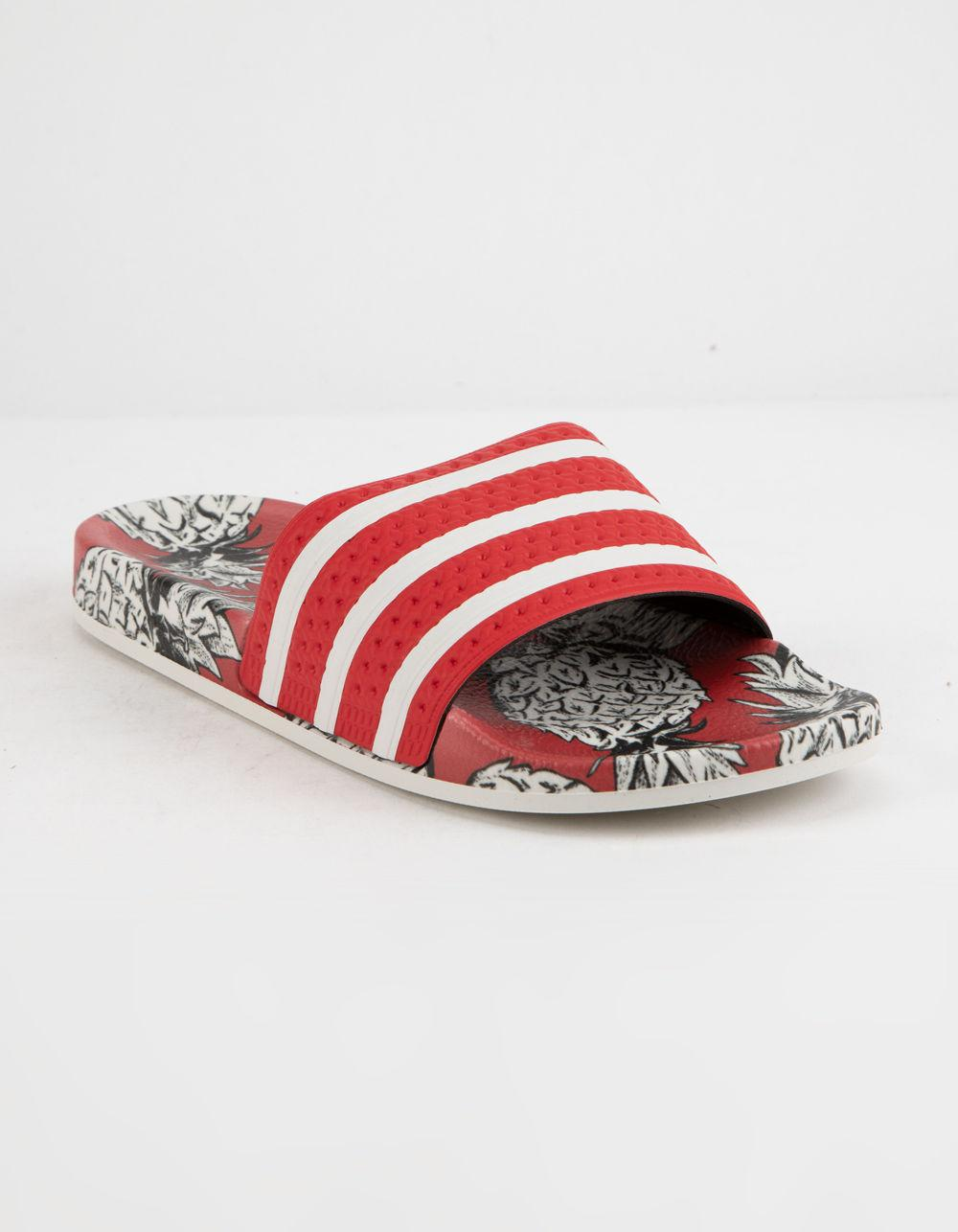 official photos 8aadf d3dc6 Lyst Adidas Adilette Scarlet Off White Womens Slides In Red