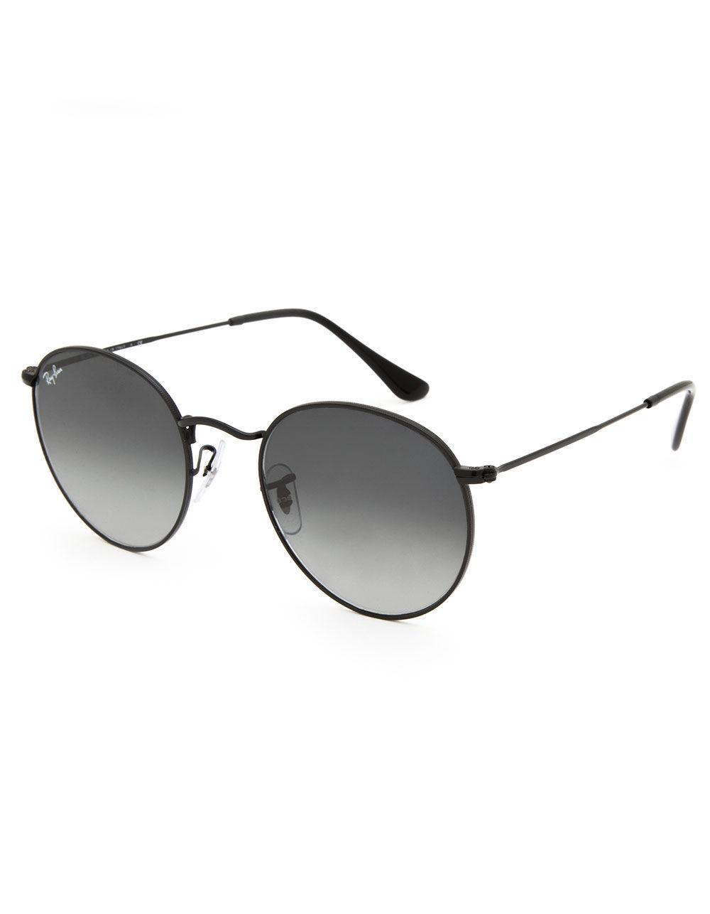 4c87824647 Lyst - Ray-Ban Round Flat Lenses Grey Gradient   Black Sunglasses in ...