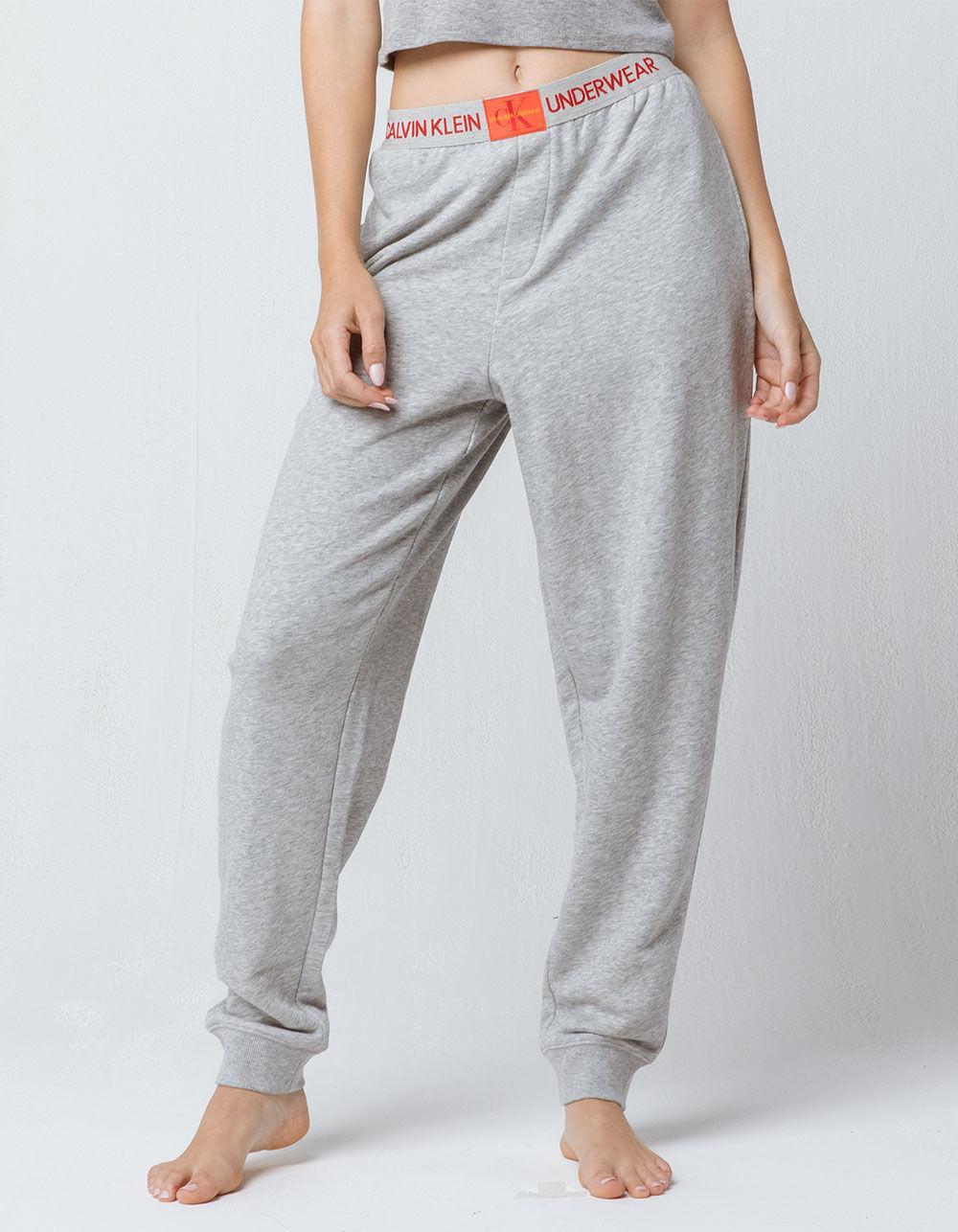 86ab9b8db92f2 Calvin Klein Monogram Logo Heather Gray Womens Jogger Pants in Black ...