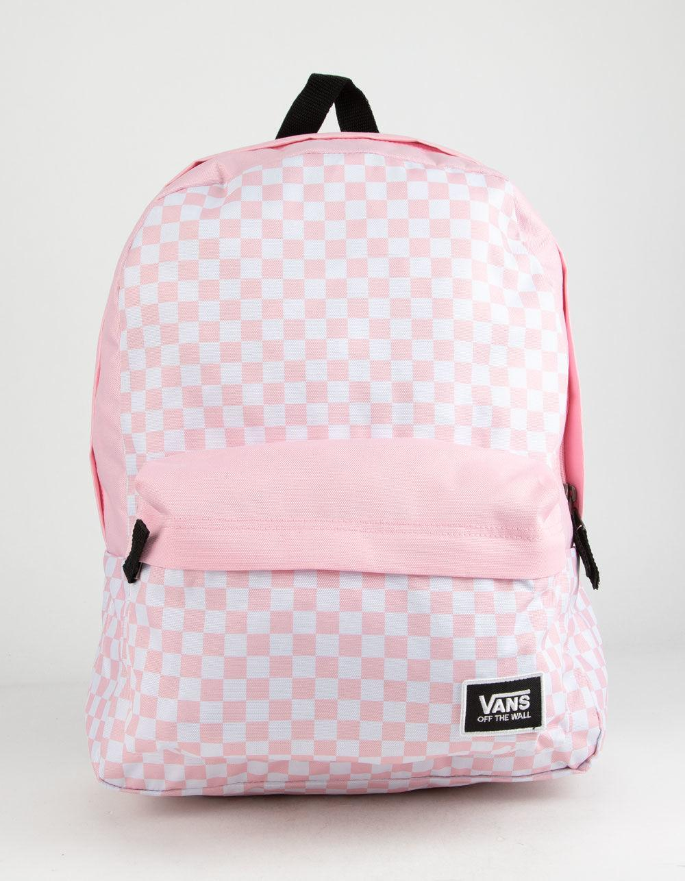 3689797dd25 Lyst - Vans Realm Classic Fairy Tale Checkerboard Backpack in Pink