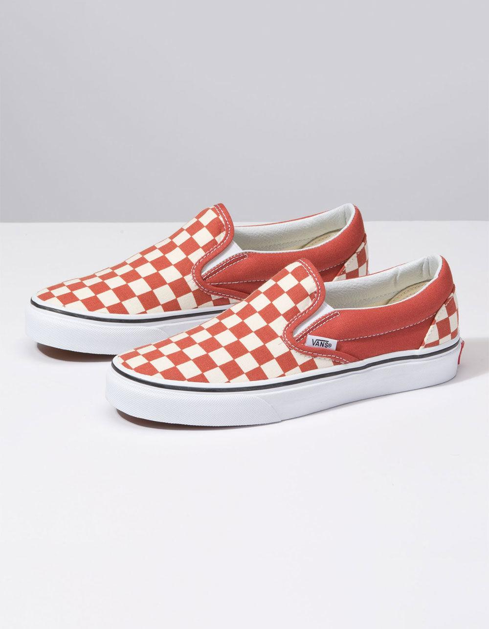 3b75930fefb351 Lyst - Vans Checkerboard Classic Slip-on Hot Sauce   True White Womens Shoes  in White