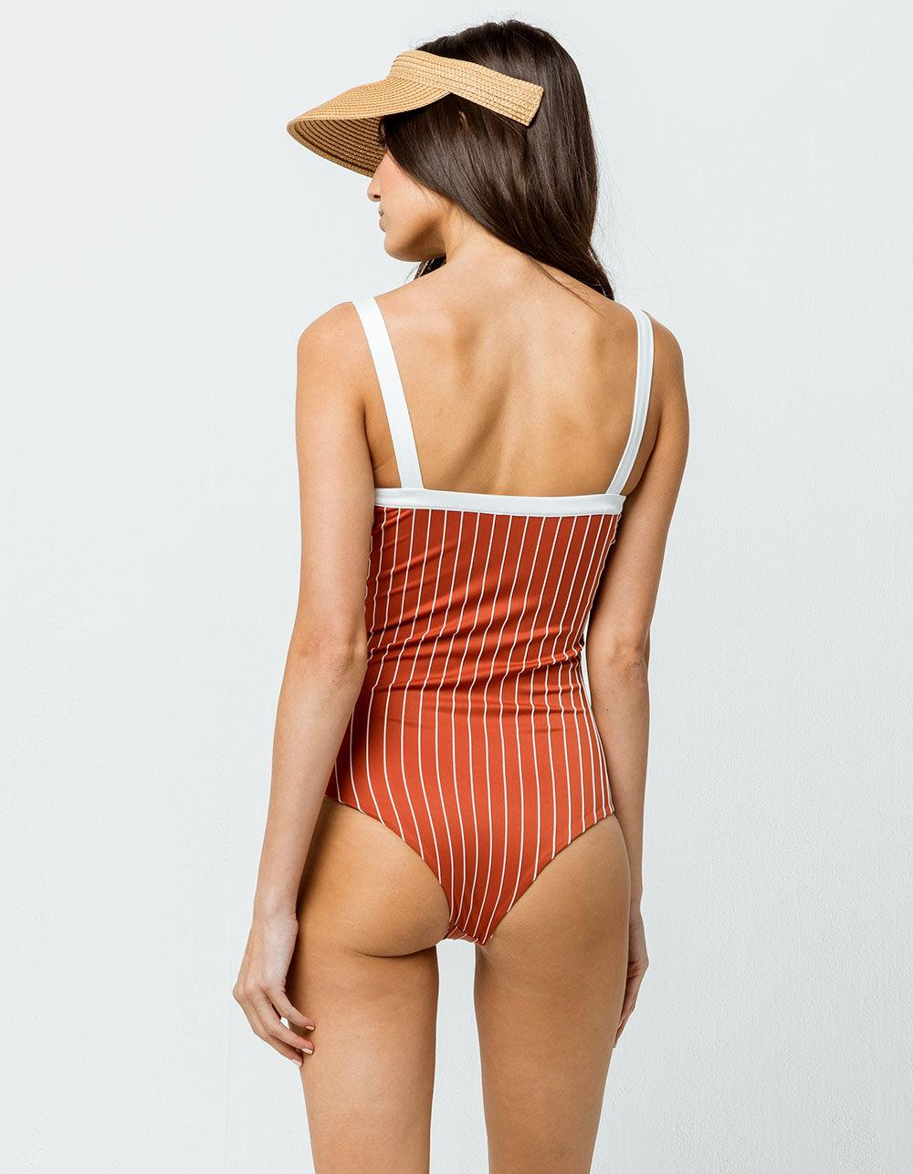 51170d06f6 Hurley - Red Henley One Piece Swimsuit - Lyst. View fullscreen