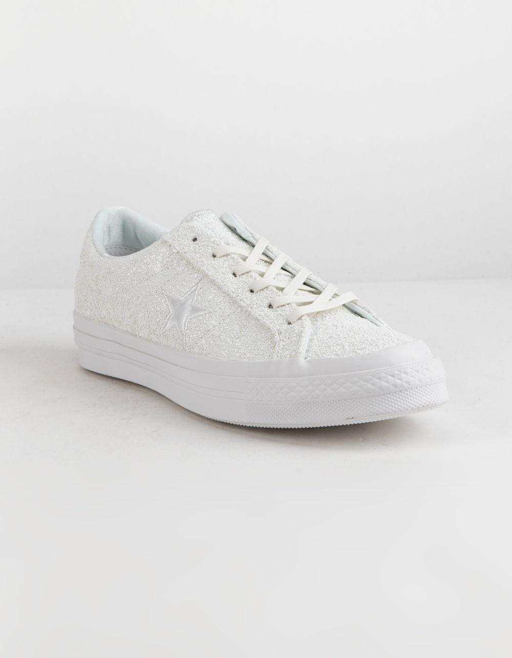 d13168c896a Lyst - Converse One Star Ox Glitter White Womens Shoes in White