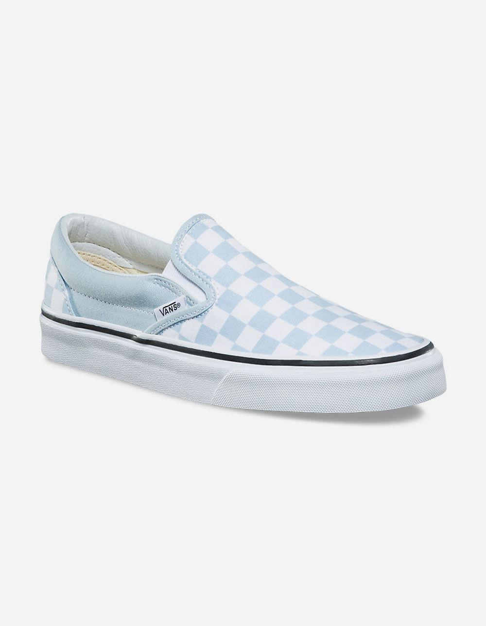 d2b22b4916 Lyst - Vans Checkerboard Baby Blue Womens Slip-on Shoes in Blue