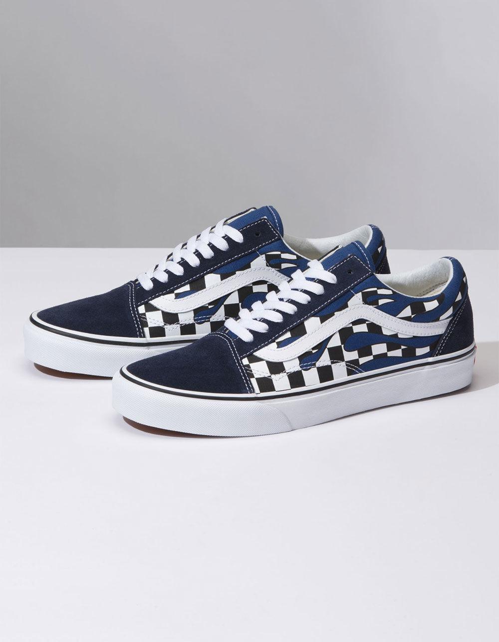 49e31b4fcd73 Lyst - Vans Checker Flame Old Skool Navy   True White Shoes in Blue for Men