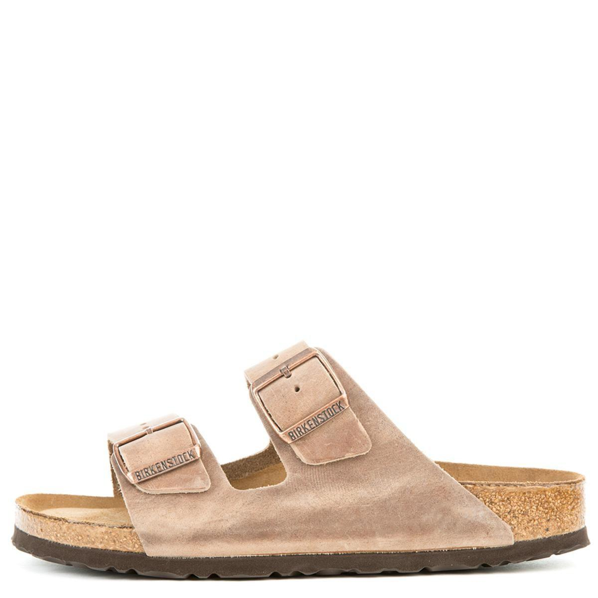 4b8e03b748 Birkenstock - Narrow Arizona Waxy Leather Soft Footbed Tabacco Brown Sandals  - Lyst. View fullscreen