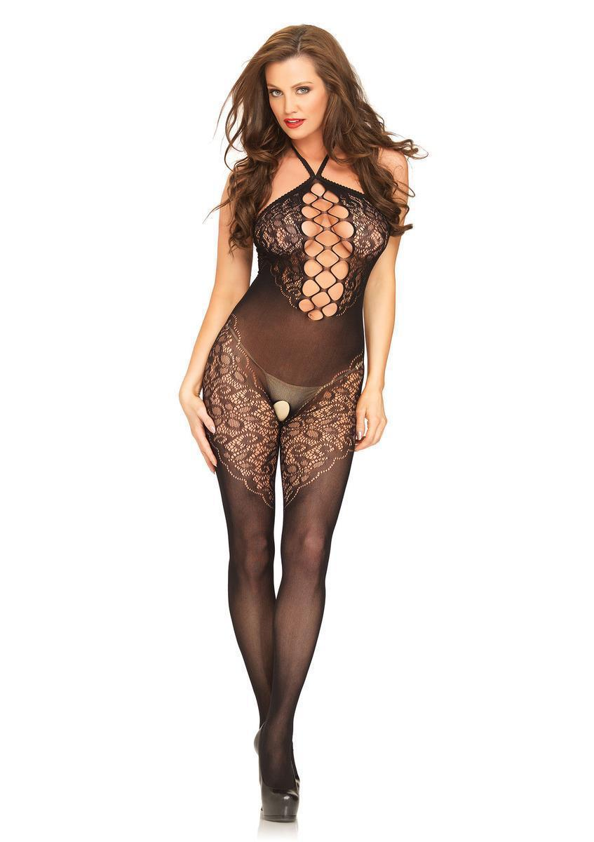 035f3ca30f Leg Avenue. Women s Black Seamless Opaque Halter Bodystocking With Lace  Accents And Net Center Panel