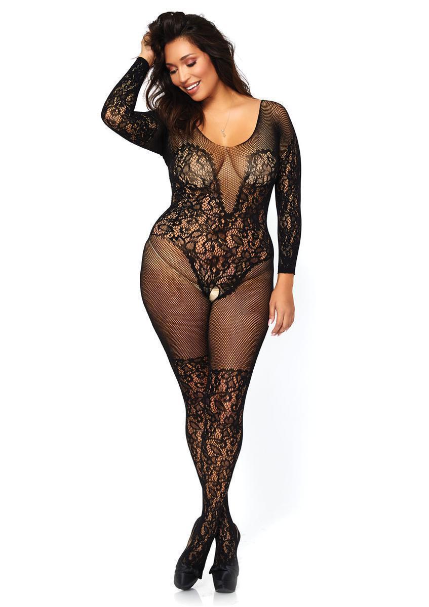 57394834c2 Leg Avenue - Black Vine Lace And Net Long Sleeved - Lyst. View fullscreen