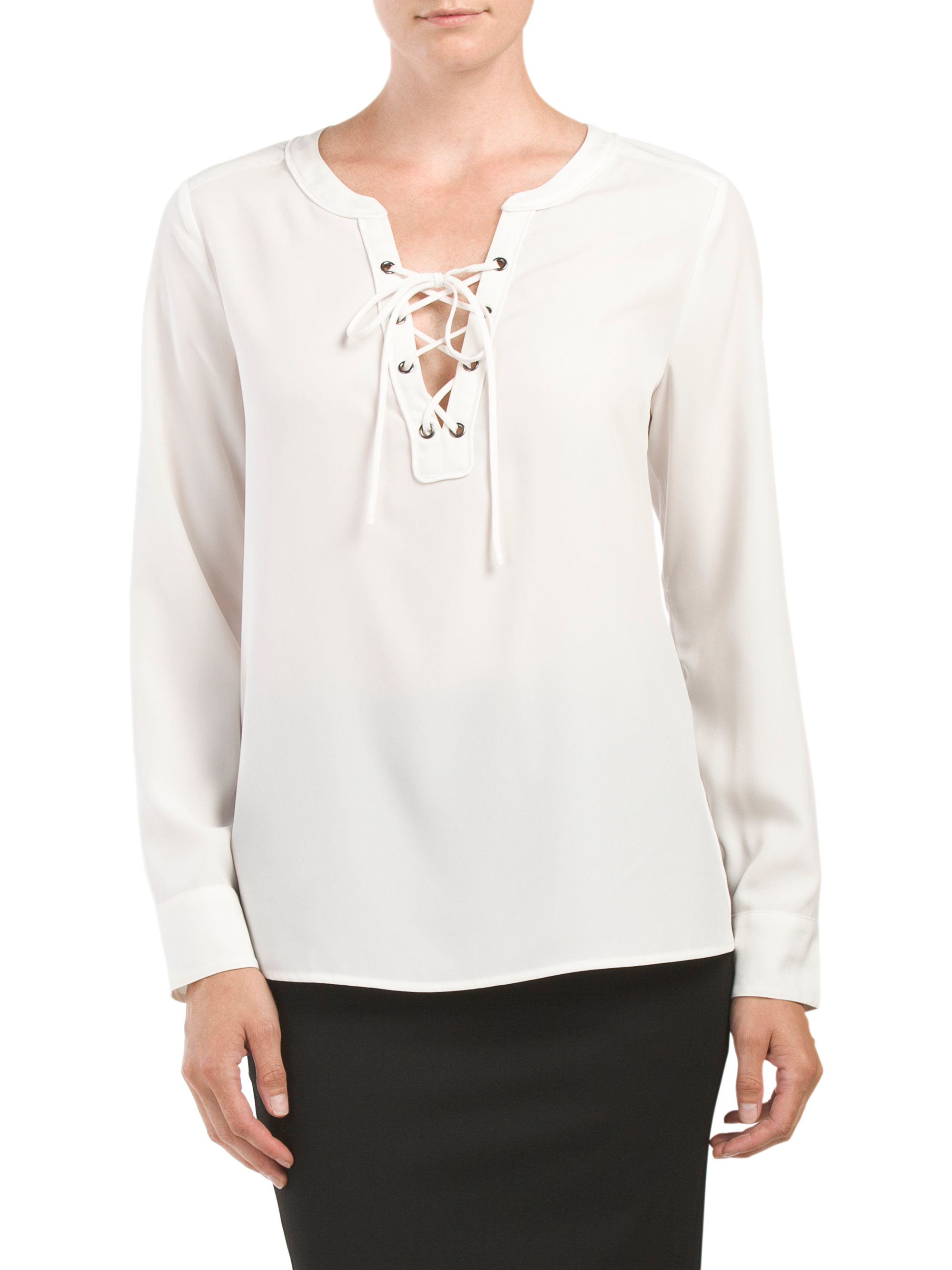 Tj maxx lace up cafe top in white lyst for Tj maxx t shirts
