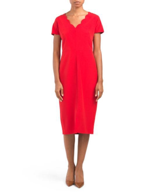 9575dff11f6a Lyst - Tj Maxx Scallop Neck Sheath Dress in Red