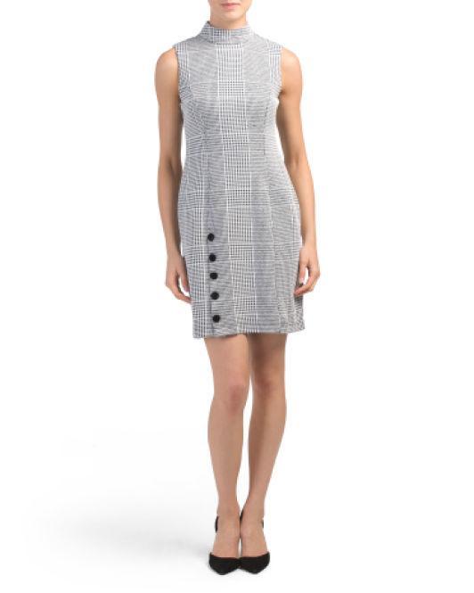 4250cbd40cdc9 Lyst - Tj Maxx Petite Havens Houndstooth Sheath Dress in Black