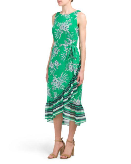 cd6bb22089e Lyst - Tj Maxx Sleeveless Printed Chiffon Midi Dress in Green