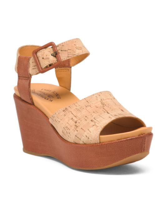 31be4822321c Lyst - Tj Maxx Wedge Leather Sandals in Natural