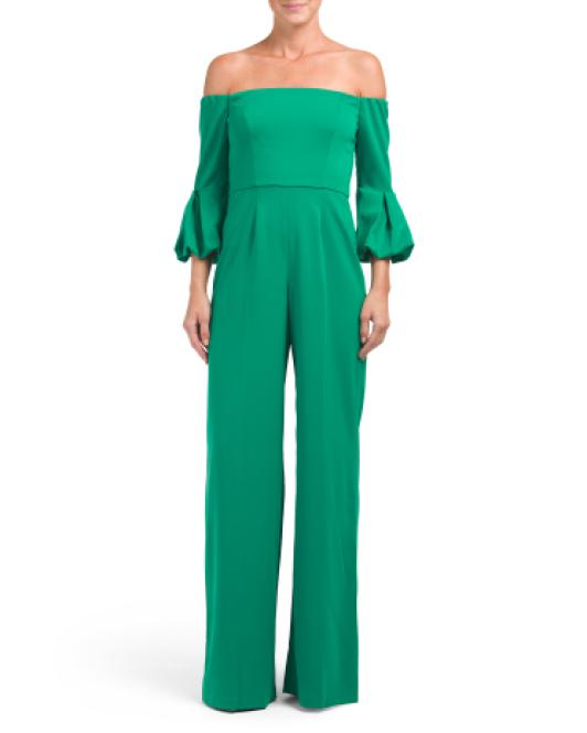 6236d40993f Lyst - Tj Maxx Griffith Off The Shoulder Jumpsuit in Green