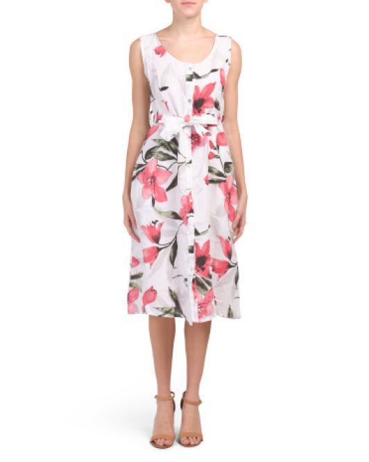 ca6035381b2 Tj Maxx. Women s Made In Italy Linen Floral Print Dress