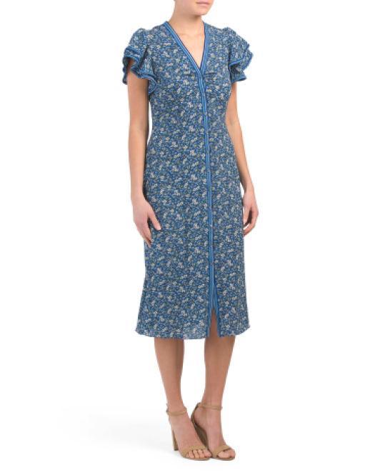 6b1be7155692 Lyst - Tj Maxx Magnolia Print Bubble Crepe Dress in Blue