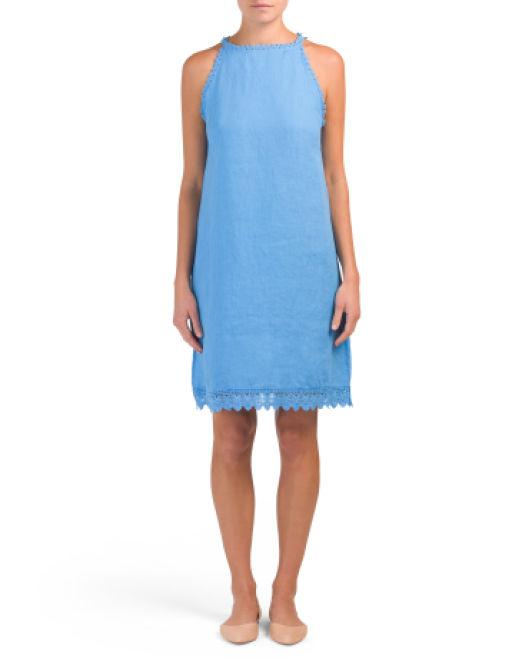 a84e001a36f Lyst - Tj Maxx Made In Italy Linen Crochet Trim Dress in Blue