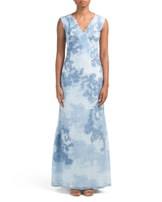 Tj maxx V-neck All Over Lace Gown in Blue | Lyst