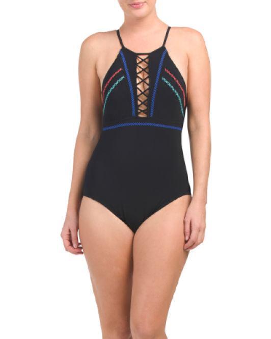 1ce6de21d2636 Lyst - Tj Maxx Calypso One Piece Swimsuit in Black