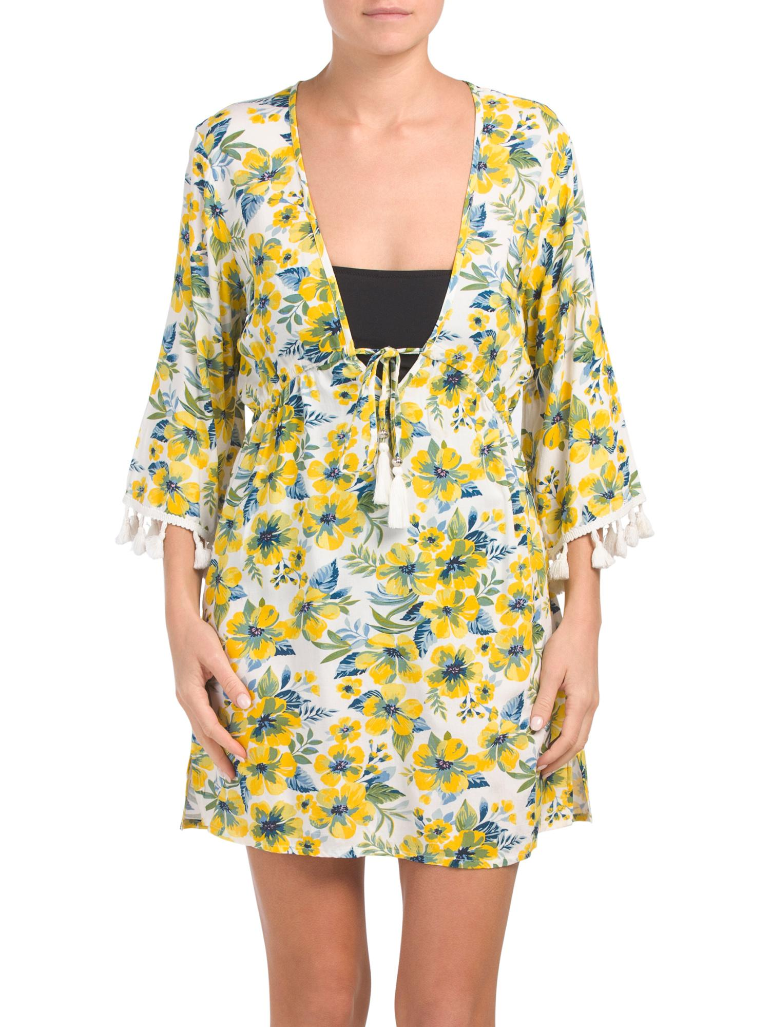 f05e6afa02cf Tj Maxx Floral Cover-up in Yellow - Lyst