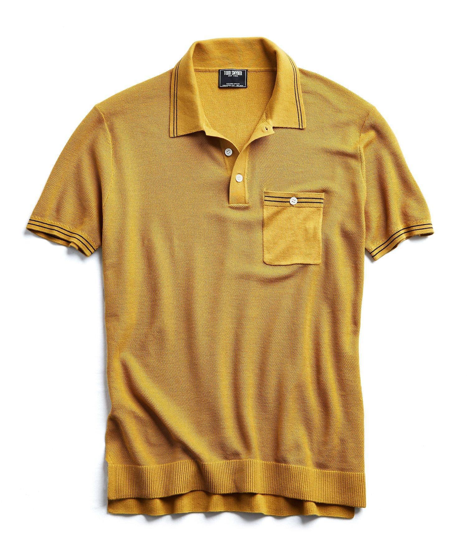4faa2a0e Todd Snyder Tipped Cotton Silk Micro Mesh Tipped Polo In Mustard in ...