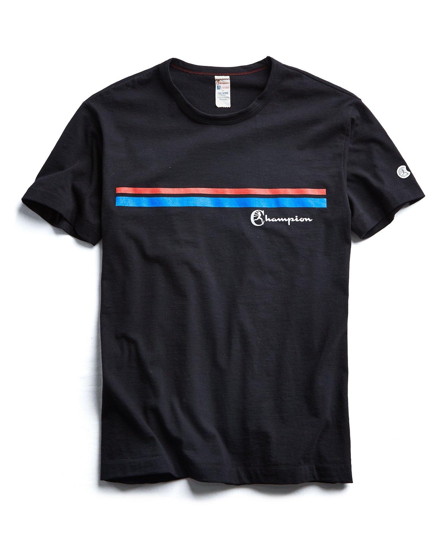 e34f4cf9 Todd Snyder Champion Double Stripe Graphic T-shirt In Black in Black ...