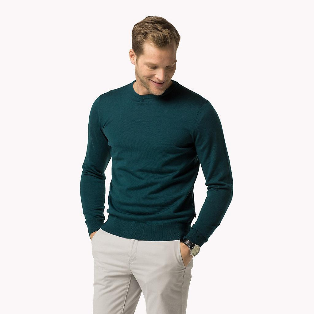 ad83030e4db0 Tommy Hilfiger Luxury Wool Crew Neck Jumper in Green for Men - Lyst
