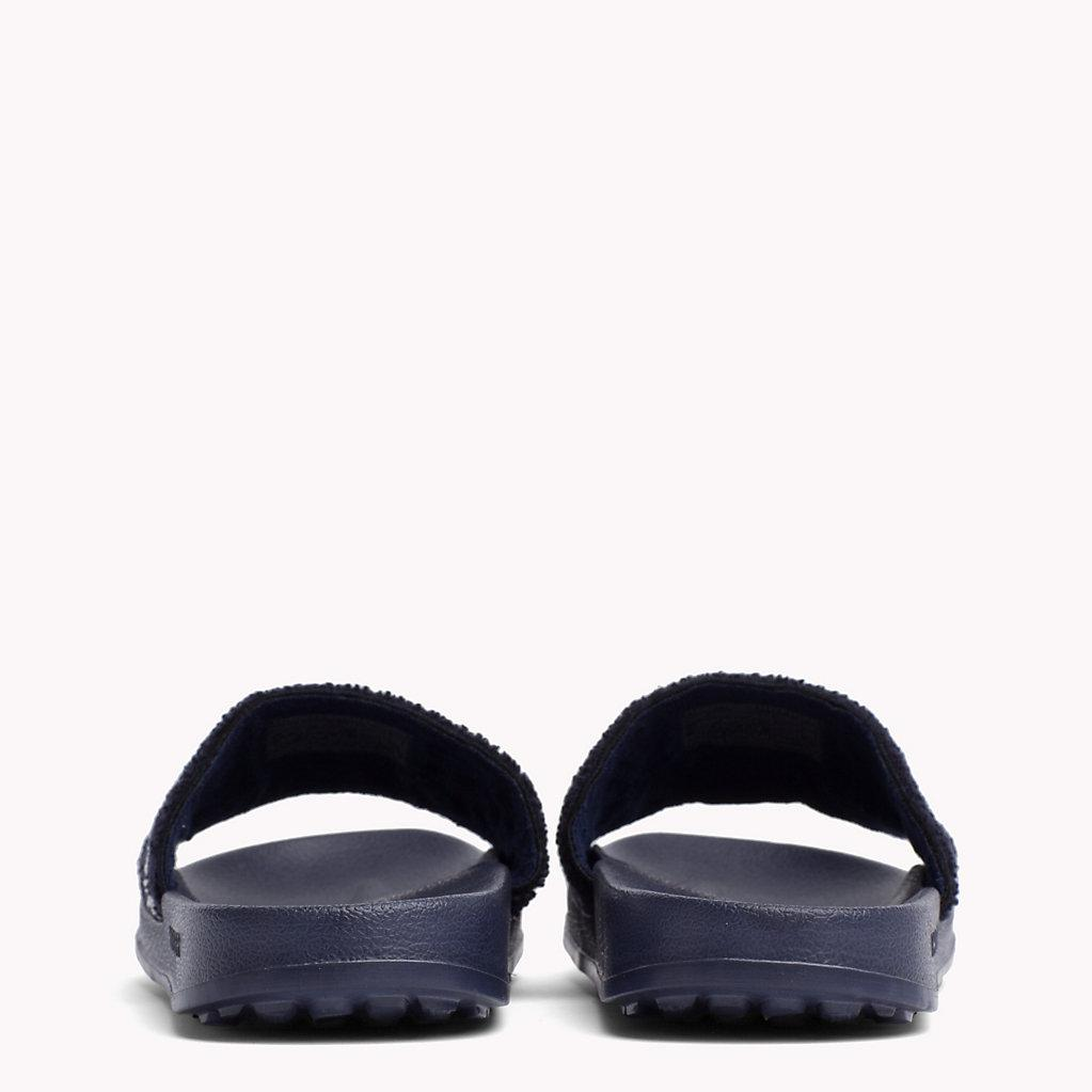 9a378dbd Tommy Hilfiger Embroidered Terry Beach Sliders in Black for Men - Lyst