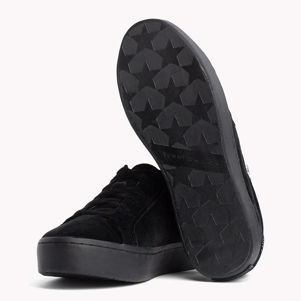 5c477ce146c8f4 Tommy Hilfiger - Black Velvet Finish Zip Detail Trainers - Lyst. View  fullscreen